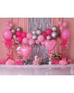 Photography Background in Fabric Scenarios Pink and Silver Balloon / Backdrop 2076