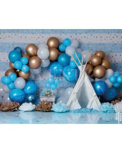 Photography Background in Fabric Scenarios Blue Balloon / Backdrop 2126