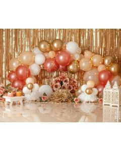 Photography Background in Fabric Scenarios Color Pink and Golden / Backdrop 1932