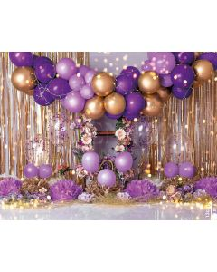 Photography Background in Fabric Scenarios Purple and Gold Balloon / Backdrop 2077