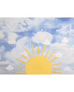 Photography Background in Fabric Sun with Clouds / Backdrop 2131