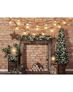 Photography Background in Fabric Christmas Fireplace / Backdrop 1964