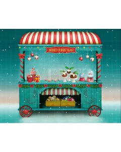 Photography Background in Fabric Christmas Candy Store / Backdrop 2181