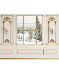 Photography Background in Fabric Boiserie with Window / Backdrop 2187
