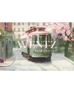 Photography Background in Fabric Cherry Blossom Streetcar / Backdrop CW77