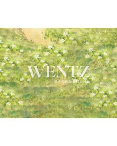 Photography Background in Fabric Green Field With White Flowers / Backdrop 2216