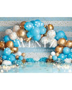 Photography Background in Fabric Scenarios Blue Golden Balloon Newborn / Backdrop 2209