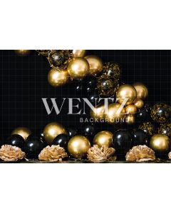 Photography Background in Fabric Cake Smash Black and Gold / Backdrop 2275