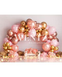 Photography Background in Fabric Scenarios Pink and Gold Balloon / Backdrop 2208