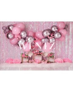 Photography Background in Fabric Cake Smash Pink and Silver / Backdrop 2277