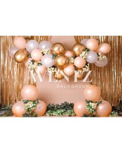 Photography Background in Fabric Cake Smash Salmon and Gold / Backdrop 2278