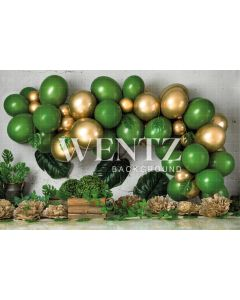 Photography Background in Fabric Cake Smash Green and Gold / Backdrop 2276