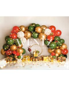 Photography Background in Fabric Scenarios Green Red and Gold Balloon / Backdrop 2207
