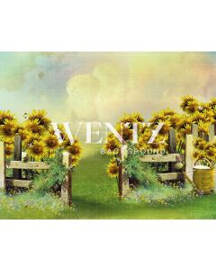 Photography Background in Fabric Scenery Grove with Fence and Sunflower / Backdrop 2078