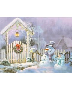 Photography Background in Fabric Christmas Scenario with Snowman / Backdrop 2153