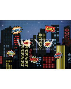 Photography Background in Fabric Superhero City / Backdrop 2279
