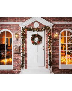 Photography Background in Fabric Christmas Facade and Door / Backdrop 2164