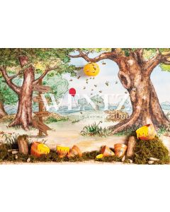 Photography Background in Fabric Teddy Bear Forest / Backdrop 2285