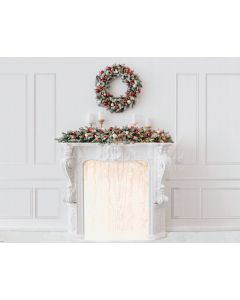 Photography Background in Fabric Christmas Fireplace with Wreath / Backdrop 2157