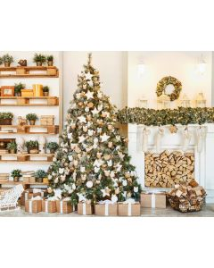 Photography Background in Fabric Christmas Fireplace and Pine / Backdrop 2114