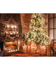 Photography Background in Fabric Christmas Fireplace and Pines / Backdrop 2183