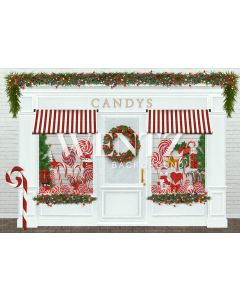 Photography Background in Fabric Christmas Candy Shop / Backdrop 2323