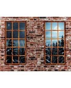 Photography Background in Fabric Brick Wall with Window / Backdrop 2185