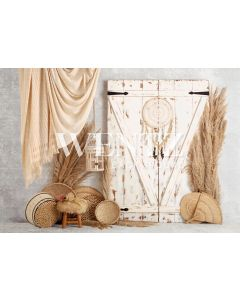 Photography Background in Fabric Boho Wall and Door with Macramé / Backdrop 2246