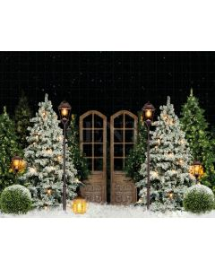 Photography Background in Fabric Evening Snowy Holiday Park / Backdrop 2190