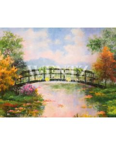 Photography Background in Fabric Bridge with Trees / Backdrop CW46