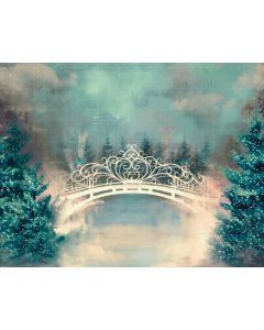 Photography Background in Fabric Bridge with Pine Trees / Backdrop 2178