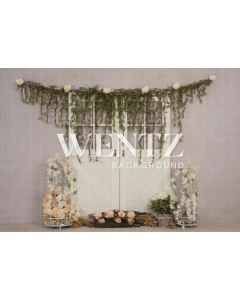 Photography Background in Fabric Door With Flowers / Backdrop 2229