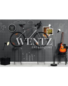 Photography Background in Fabric Room with Bicycle / Backdrop 2264