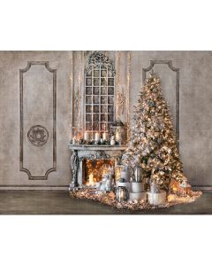 Photography Background in Fabric Christmas Room with Fireplace / Backdrop 2173