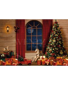Photography Background in Fabric Christmas Magic Room with Pine and the Moon / Backdrop 2193