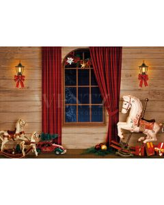 Photography Background in Fabric Magic Christmas Room with Toys / Backdrop 2192