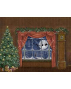 Photography Background in Fabric Christmas Room with Window / Backdrop 2182