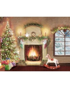 Photography Background in Fabric Christmas Room with Fireplace / Backdrop 2169