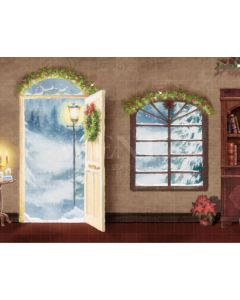 Photography Background in Fabric Christmas Room with Door / Backdrop 2170