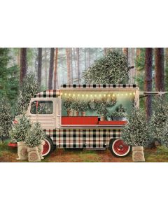 Photography Background in Fabric Christmas Trailer / Backdrop 2195