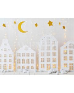 Photography Background in Fabric Christmas Village with Stars / Backdrop 2152
