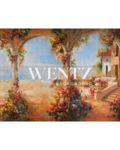 Photography Background in Fabric Flowers Village With Arches / Backdrop CW48