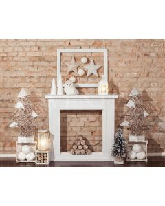 Photography Background in Fabric Christmas Fireplace / Backdrop 1965