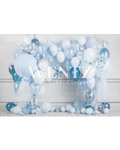 Photography Background in Fabric Cake Smash Blue and White / Backdrop 2239