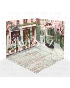 Photography Background in Fabric Cherry Blossom Streetcar in Paris Scenario 3D / WTZ119
