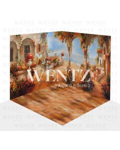 Photography Background in Fabric Flowers Village Scenario 3D / WTZ113