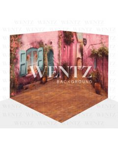 Photography Background in Fabric Pink Flowers Village Scenario 3D / WTZ117
