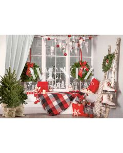 Photography Background in Fabric Christmas Room With Window / Backdrop 2352
