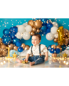 Photography Background in Fabric Scenarios Blue Golden Balloon Newborn / Backdrop 2022